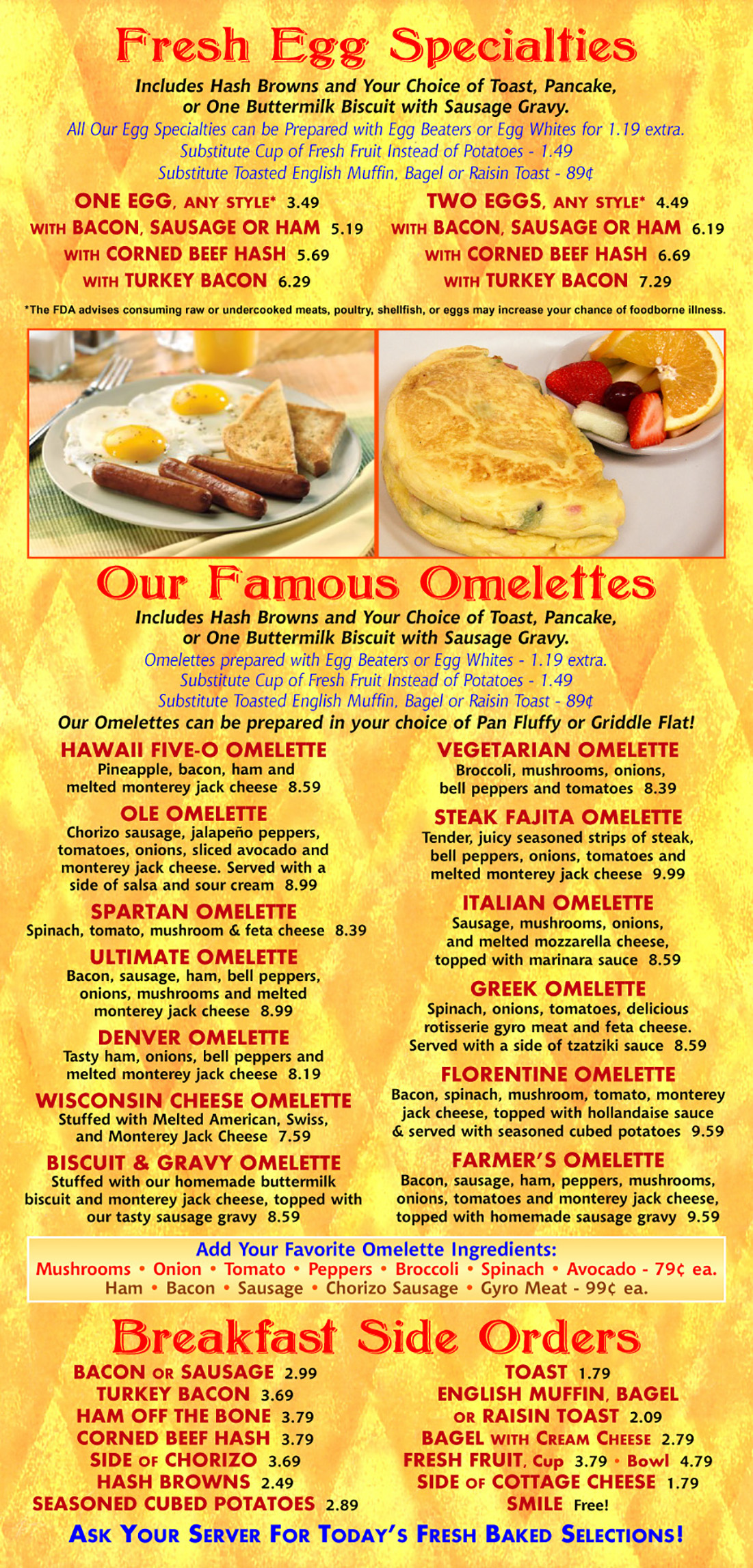 Egg Specialties, Omelettes