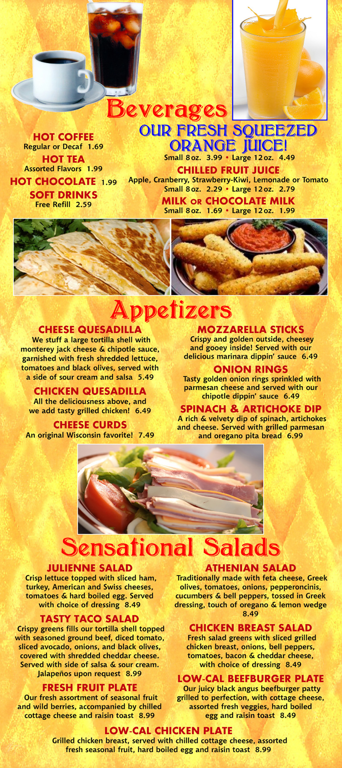 Beverages, Appetizers & Salads