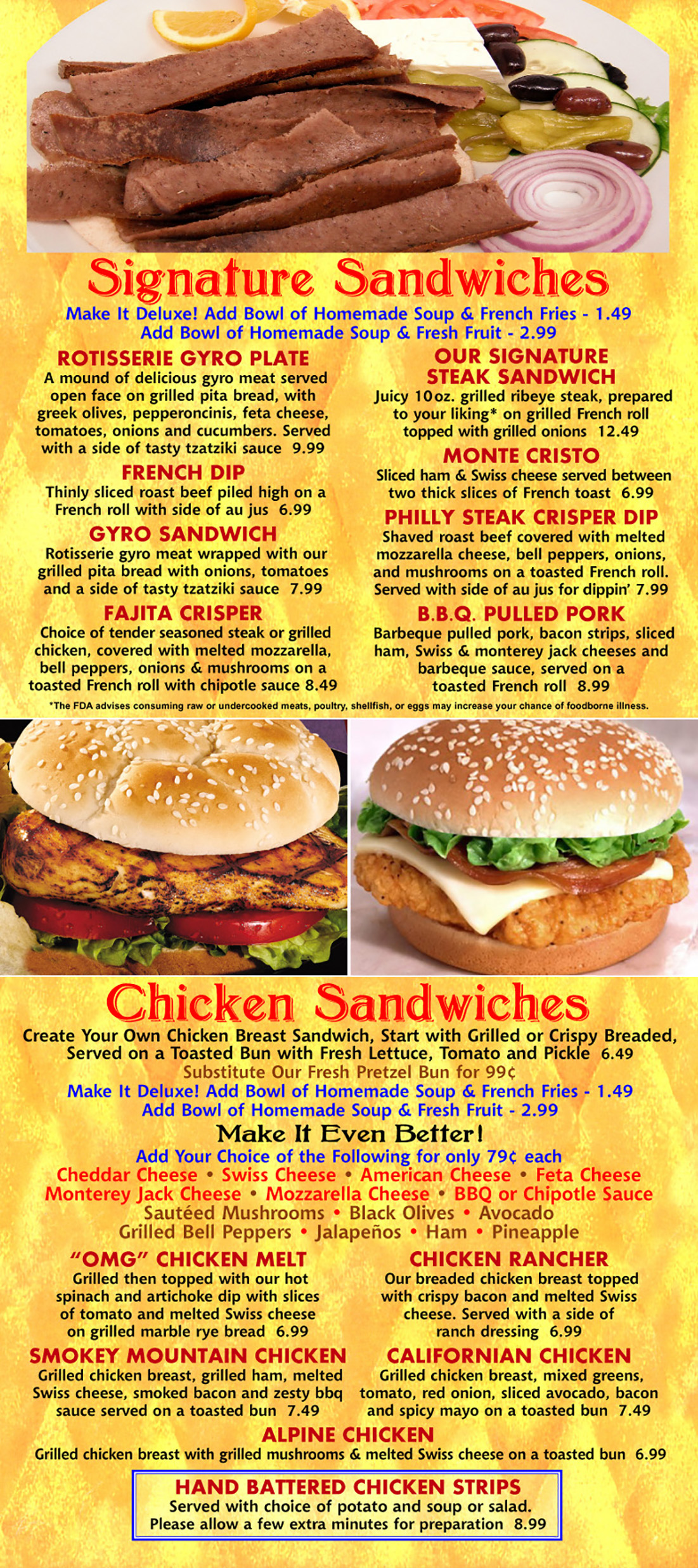 Signature & Chicken Sandwiches
